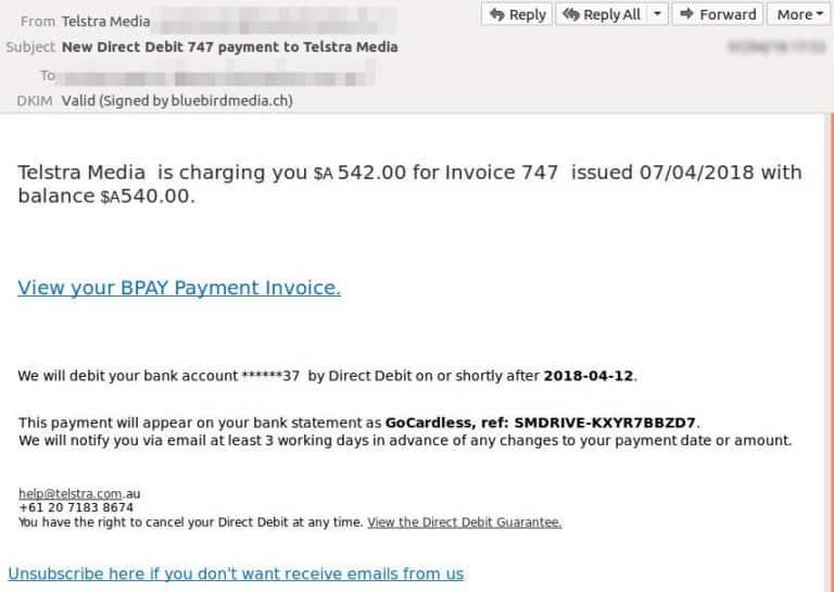 'Telstra Media' BPAY billing message