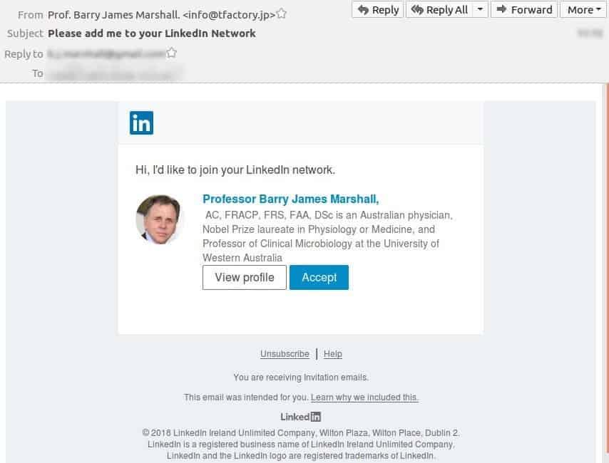 LinkedIn- Fake Invitation Request